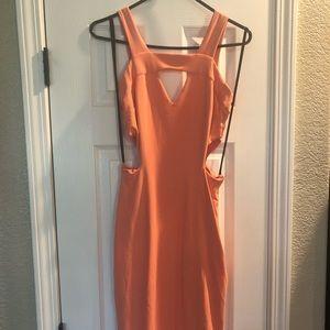 Midi cut out coral dress